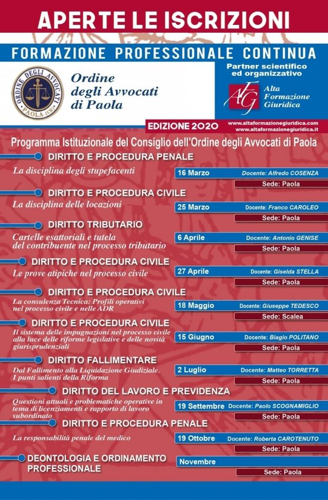 Programma Seminari Formazione Permanente Avvocati anno 2020 Foro di Paola (CS)