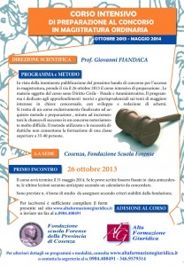 Corso Intensivo di preparazione al concorso in Magistratura ordinaria Anno: 2013/2014