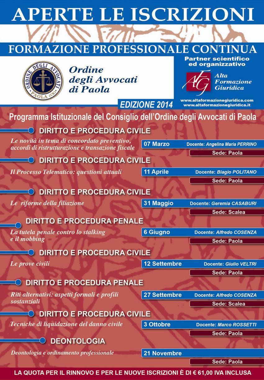 Calendario Formazione Paola 2014