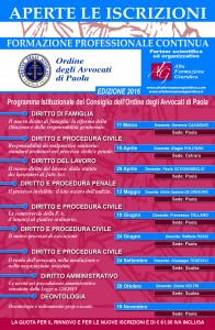 Calendario Formazione Paola 2016