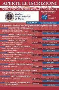 Calendario Formazione Continua Foro di Paola 2017