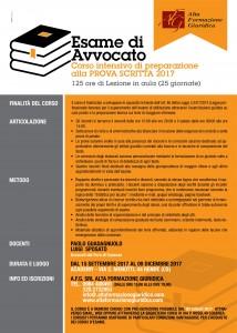 ESAME AVVOCATO 2017  CORSO INTENSIVO DI PREPARAZIONE ALLA PROVA SCRITTA