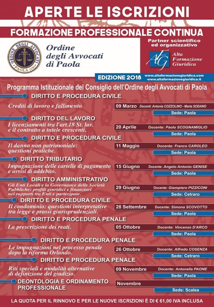 Calendario Formazione Continua Foro di Paola 2018