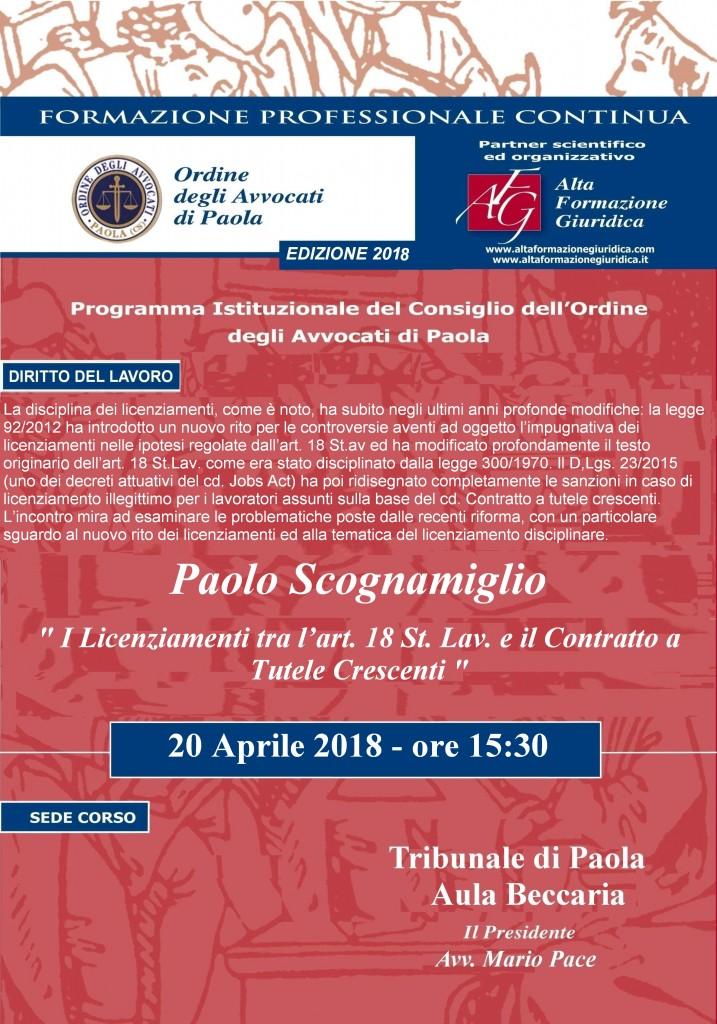 Seminario 20 aprile 2018 Formazione Permanente Avvocati – I licenziamenti tra l'art. 18 St. lav. e il contratto a tutele crescenti.