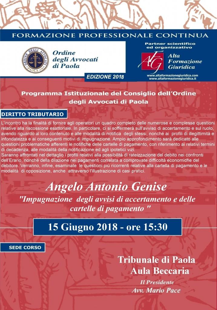 Seminario Formazione Permanente Paola  15 Giugno 2018 – Impugnazione  degli avvisi di accertamento e delle cartelle di pagamento.