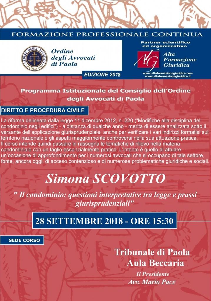 """Seminario Formazione Permanente Paola – 28 Settembre 2018 – """" Il condominio…"""""""