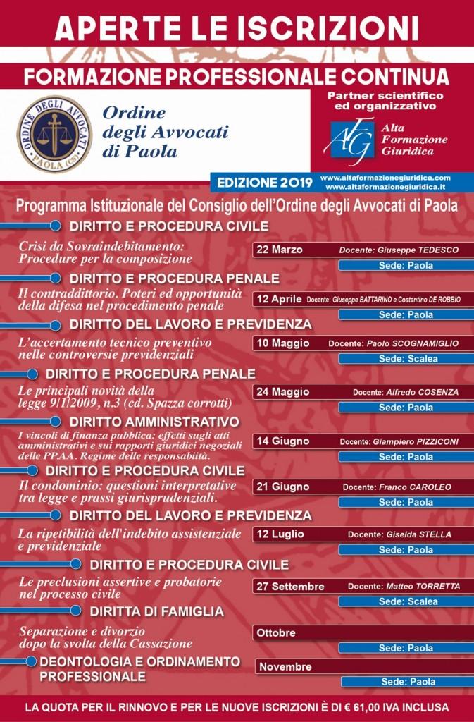 Calendario Formazione Continua Foro di Paola 2019