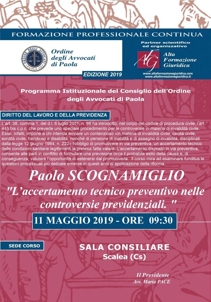 """Seminario Formazione Permanente Scalea  – 11  Maggio 2019 – """"L'accertamento Tecnico Preventivo nelle Controversie Previdenziali """""""
