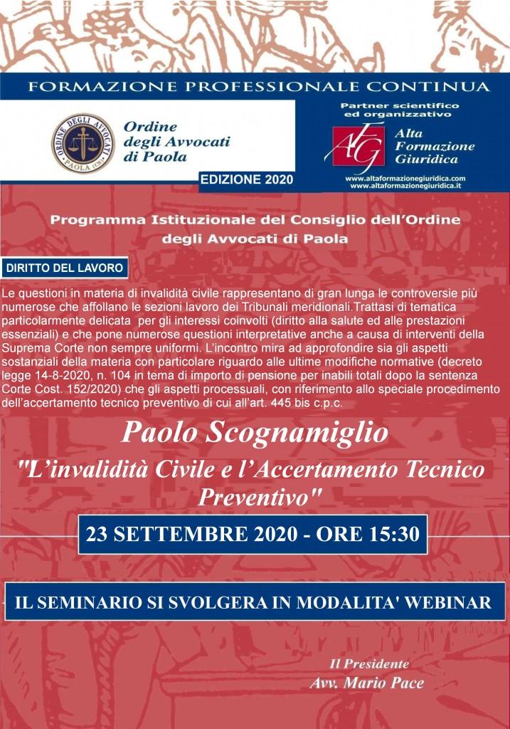 """""""L'invalidità Civile e l'Accertamento Tecnico Preventivo """" WEBINAR 23/09/2020"""